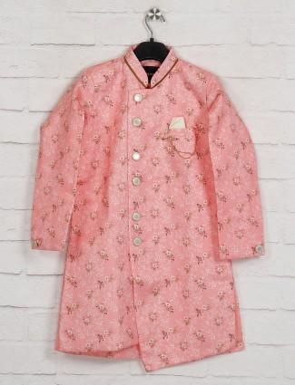 Pink printed silk kurta suit