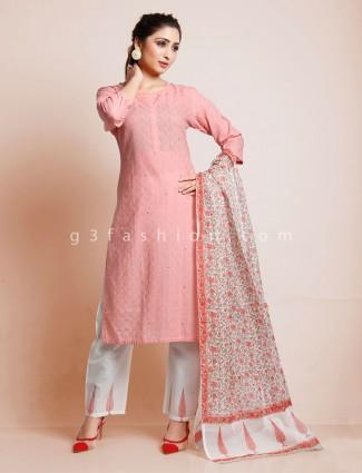 Pink punjabi style cotton pant suit