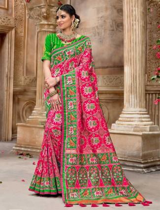 Pink pure patola silk wedding saree