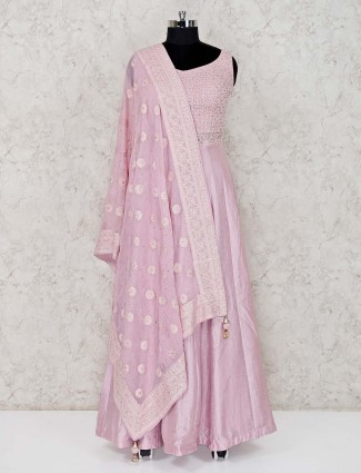 Pink raw silk floor length designer anarkali suit