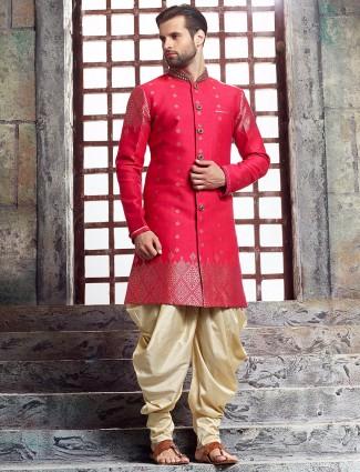 Pink raw silk kurta suit