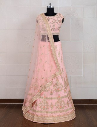 Pink raw silk semi stitched designer lehenga choli