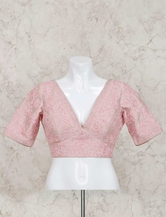 Pink raw silk v neck ready made blouse
