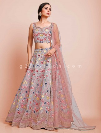Pink raw silk wedding sweetheart neck lehenga choli