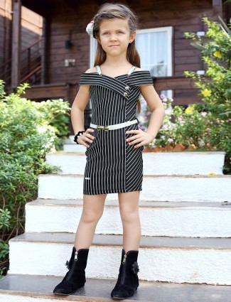 Pink Ribbon black color stripe cotton fabric dress