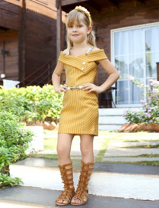 Pink Ribbon lovely mustard yellow cotton party dress
