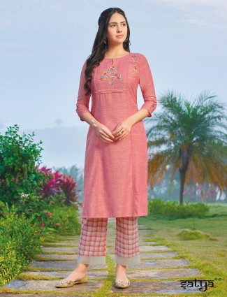 Pink round neck cotton kurti with bottom