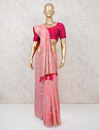 Pink saree in muga silk with zari weaved pattern