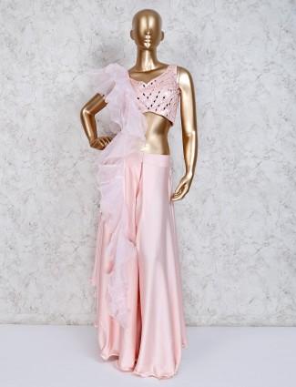 Pink satin designer indo western sharara suit