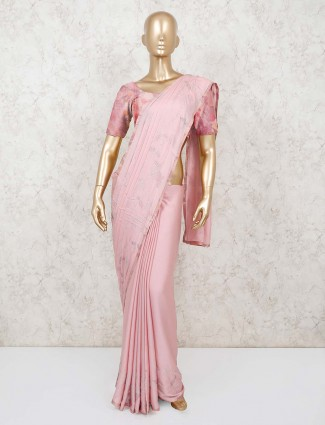 Pink satin indian saree