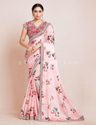Pink satin printed saree with readymade blouse