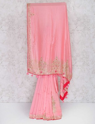 Pink semi silk festival saree