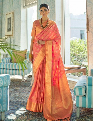 Pink semi silk saree for wedding and reception