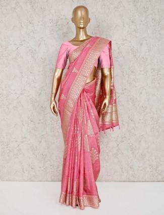 Pink semi silk saree for wedding or reception wear