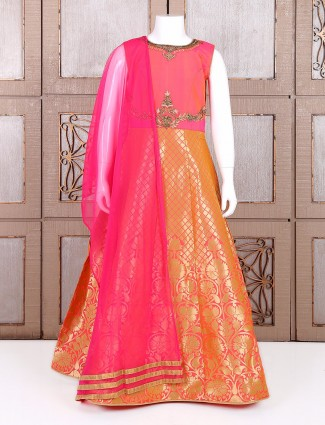 Pink silk alluring wedding wear anarkali suit