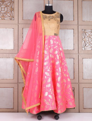Pink silk dressy anarkali suit