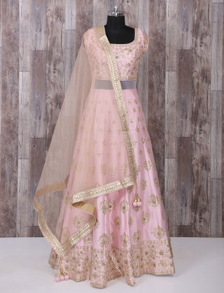 Pink silk fabric designer anarkali suit