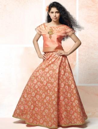 Pink silk fabric party wear lehenga choli