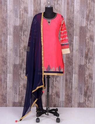 Pink silk festive wear patiala suit