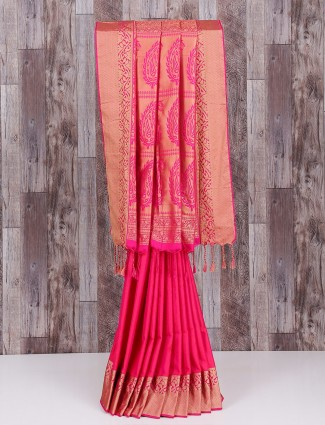 Pink silk graceful wedding wear saree