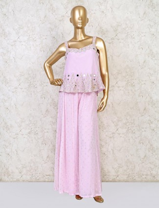 Pink silk palazzo suit in peplum style