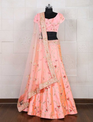 Pink silk semi stitched lehenga choli
