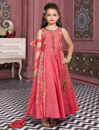 Pink silk wedding wear anarkali suit
