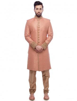Pink silk wedding wear sherwani