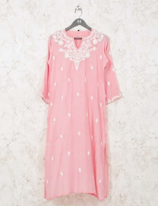 Pink simple kurti in cotton