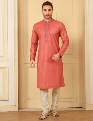 Pink solid cotton silk festive wear kurta suit