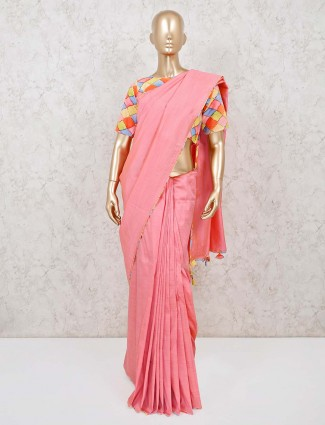 Pink solid handloom cotton saree with ready made blouse