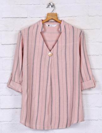 Pink stripe cotton top for ladies
