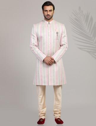 Pink stripe wedding wear indo western