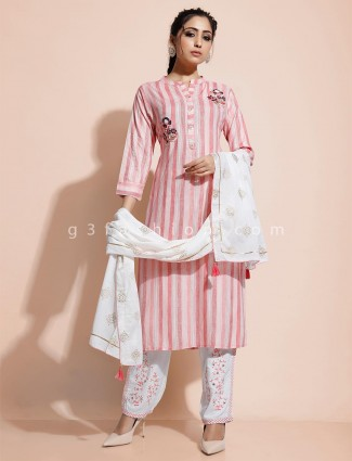 Pink striped kurti with pant in cotton