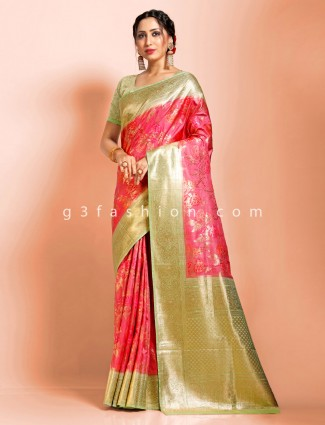 Pink super fine dola silk wedding occasion designer saree
