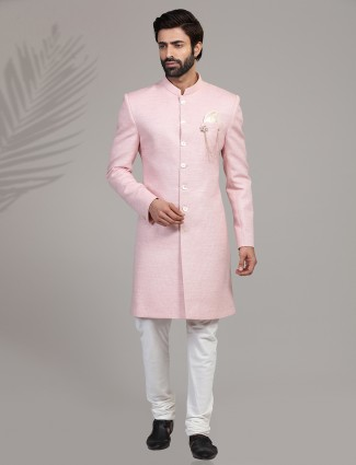 Pink terry rayon mens indo western