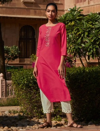Pink thread woven cotton pant suit