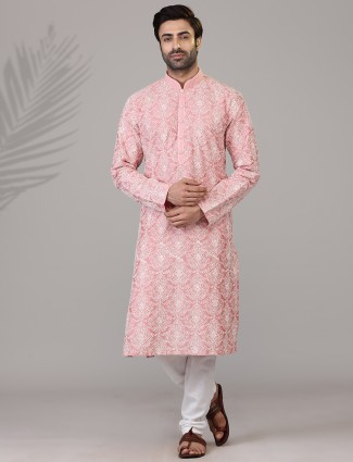 Pink thread woven cotton silk kurta suit