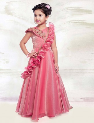 Pink tissue silk designer wedding gown