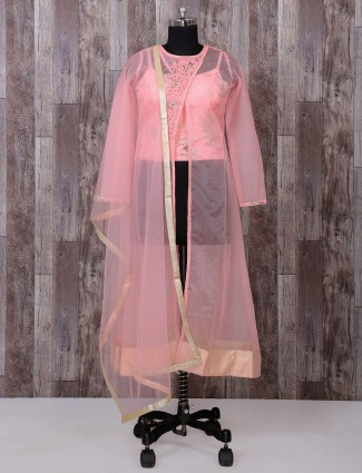 Pink tissue silk fabric palazzo suit