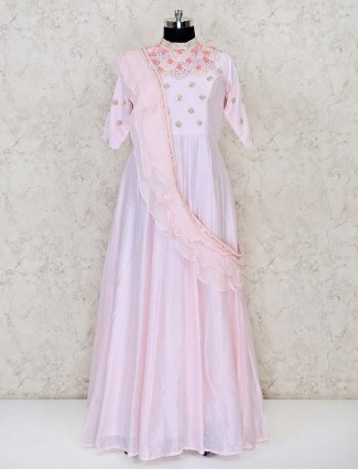 Pink tissue silk floor length anarkali style suit