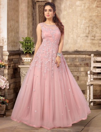 Pink tissue silk floor length anarkali suit