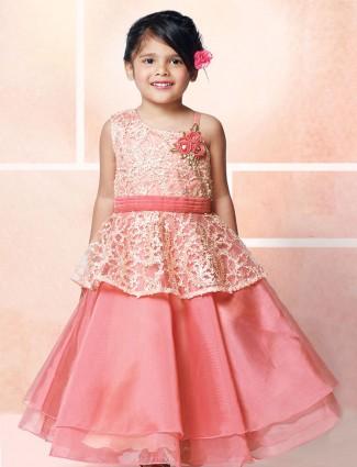 Pink tissue silk party wear gown