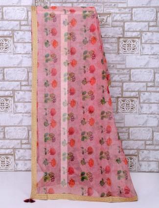 Pink tissue silk printed saree
