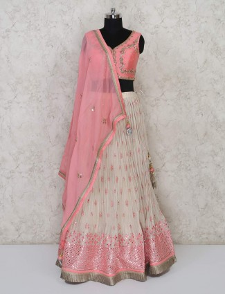 Pink wedding function georgette lehenga choli