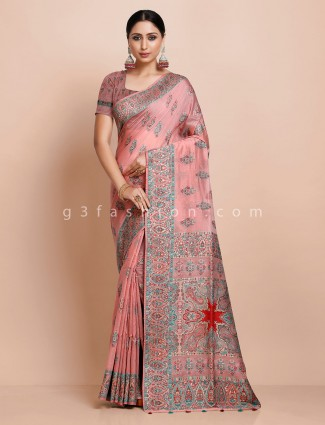 Pink wedding pashmina silk saree