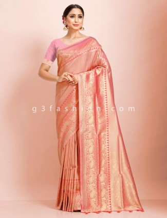 Pink wedding saree in art kanjivaram silk