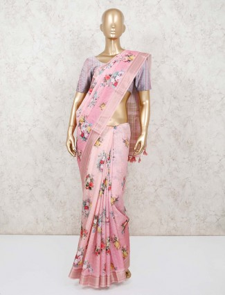 Pink wedding saree in bhagalpuri silk