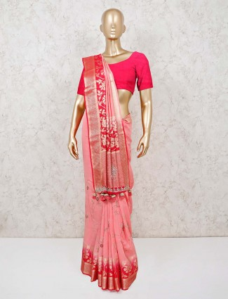 Pink wedding sree in muga silk