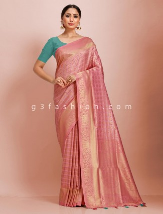 Pink wedding wear art kanjivaram silk saree